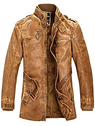 Men's Tops Lined  Long Sleeve PU Leather