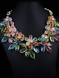 JQ Jewelry Women's Chromatic Crystal Flower Necklace