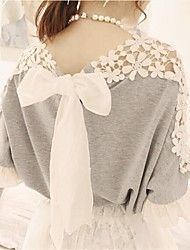TOP GIRL Women's Cute Lace Splicing Bow Loose Blouse