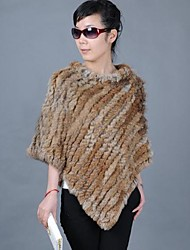 Women's Work Cute Fur Coat,Solid Round Neck ½ Length Sleeve Winter Brown Others