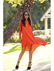 de manga larga vestido de gasa con juego de collar redondo de las mujeres org