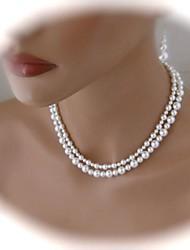 asymétrique à double collier de perles des femmes