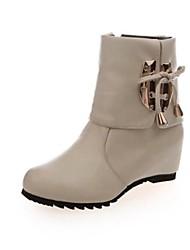 Botas ( Negro/Rojo/Beige ) - Botines / Botines - Zapatos con plataforma/Dedo redondo/Cargadores de la manera - Tacón Cuña - Flock - para