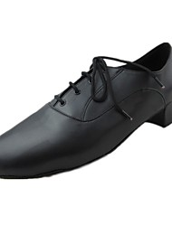 Non Customizable Men's Dance Shoes Latin Leatherette Chunky Heel Black