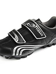 TB15-B96 zapatillas de ciclismo de montaña con suela de fibra de vidrio y cuero de la PU superior (negro + astilla)