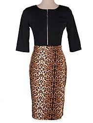 vestido estampado de leopardo cuello en v de las mujeres elegantes