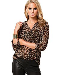 fit loose stampa del leopardo camicetta di modo di svago delle donne