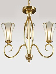 Chandeliers Three Lights 220V Glass Brass European American Classic
