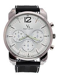 Shaopeng moda Orkian v6 esfera blanca de cuero negro hombres de cuarzo reloj de pulsera deportivo waterpoof v60072