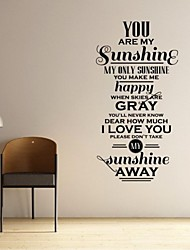 JiuBai® You Are My Sunshine Quote Wall Sticker Wall Decal