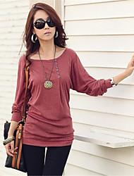 Women's T-Shirts , Cotton Blend Casual Long Sleeve