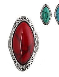 Horse Eye-Shaped Metal Inlay Jewels&Turquoise Rings (1Pc)(More Colors)