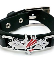 Bleach Ichigo Kurosaki Punk Style Black PU Cosplay Bracelet