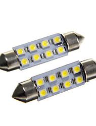 8 * 3528 SMD LED voiture de 42mm dôme intérieur feston ampoule lumière blanche (DC12V 2pcs)