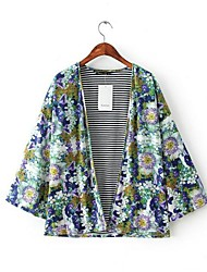 Women's Floral Print Jacket Cut Coat Outerwear