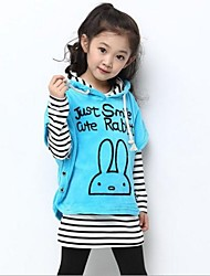 Girls' New Fashion Style Stripe Hooded Clothing Sets