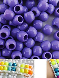 Approx 100PCS 8x9MM Purple Pearlescent Pony Beads Rainbow Color Loom Bracelet DIY Accessories