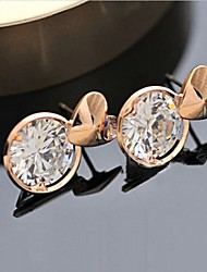 Fashion Small Lovely Time Love Round Zircon Earrings