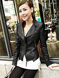 Incern®Women's Zipper Fitted OL Style Short Motorcycle Leather Jacket