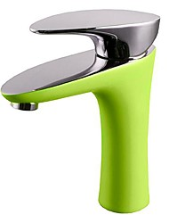 Contemporary Apple Green Body Chrome Single Handle Bathroom Sink Faucet