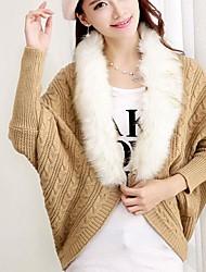 fourrure de raton laveur collier chandails de chauve-souris des femmes