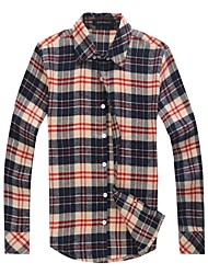 Men's Plaids / Solid Casual / Work / Formal Shirt Long Sleeve