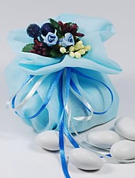 10 PCS Double Layer Sky Blue Chiffon Wedding Favor Bags Drawstring Pouch with Handmade Flower for Luxury Party