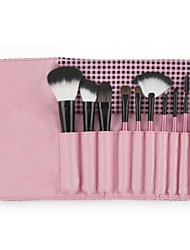 Pro High Quality 10pcs Synthetic&Animal Hair Makeup Brushes Set with Trellis Design PU Pouch
