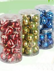 24 pcs décorations de Noël suspendus boules de galvanoplastie de chute (φ = 8cm)