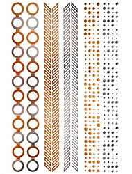 1Pcs Round V-shaped Bracelet Jewelry Inspired  Metallic Gold  and  Silver Tattoo Stickers Temporary Tattoos