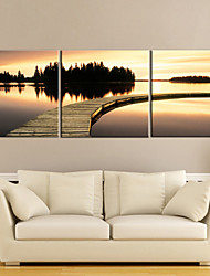 Leinwandkunst Sunset Waterside 3-er Set