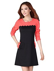 Women's Plus Sizes Color Block A Line Dress , Round Neck Above Knee Cotton Blends