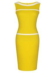 Missmay Women's Scoop Neck Classic Contrast Stripe Sleeveless Bodycon Business Dress