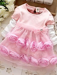 Girl's Pink Rose Flower Lovely Spring and Autumn Kids Clothing Dresses