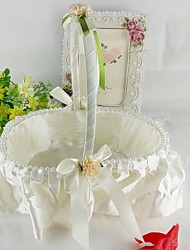 Champagne Round Flower Basket Flower Girl Basket