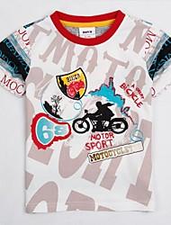 la camiseta de la moda cuello redondo corto deportivo manga camiseta moto verano de los muchachos impresos de los niños juntan con impresión azar