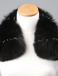 Unisex Trendy Black&silvery Real Genuine Fox Fur Collar Scarf Wrap