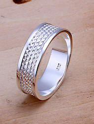 Fashion Round Shape Silver Plating With Setting Zircon Ring Jewelry For Men's(Silver)(1Pc)