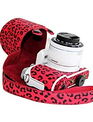 Dengpin® Samsung NX3000 Leather Camera Case Bag Cover with Shoulder Strap Charging Style Leopard Red