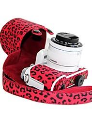 dengpin® Samsung bolsa de cuero caja de la cámara NX3000 cubrir con hombro del estilo de carga correa de leopardo rojo