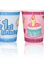 Coway 50PCS Baby Age of Children's Party Disposable Paper Cup Cartoon Environmental Protection(Random Color)