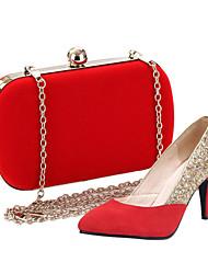 Bombas sapatos femininos dedo apontado couro salto agulha sapatos combinando saco de noite