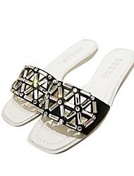 Women's Flat Heel Slide Slippers with Rhinestone Shoes