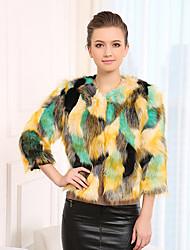 aifeili colorato lussureggiante faux cappotto di pelliccia di volpe (grean)