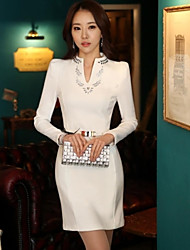 Nuoweisi Long Sleeve Solid Color Fitted Bodycon Fashion Dress