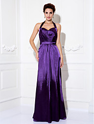 Formal Evening / Prom / Military Ball Dress - Grape Plus Sizes / Petite Sheath/Column Halter Floor-length Charmeuse