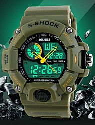 SKMEI® Men's Military Design Multifunctional Dual Time Zones Calendar LCD Alarm Fashion Rubber Band Sporty Wrist Watch Cool Watch Unique Watch