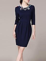 sept manches bleu haut de gamme tempérament jupe plissée de femmes lifver®