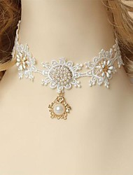 Handmade Back-to-ancient Flower Pearl White Lace Classic & Traditional Lolita Necklace