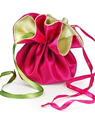10PCS Double Faced Brocade Green and Peach Colored Brocade Wedding Favor Bags Drawstring Pouch for Luxury Party